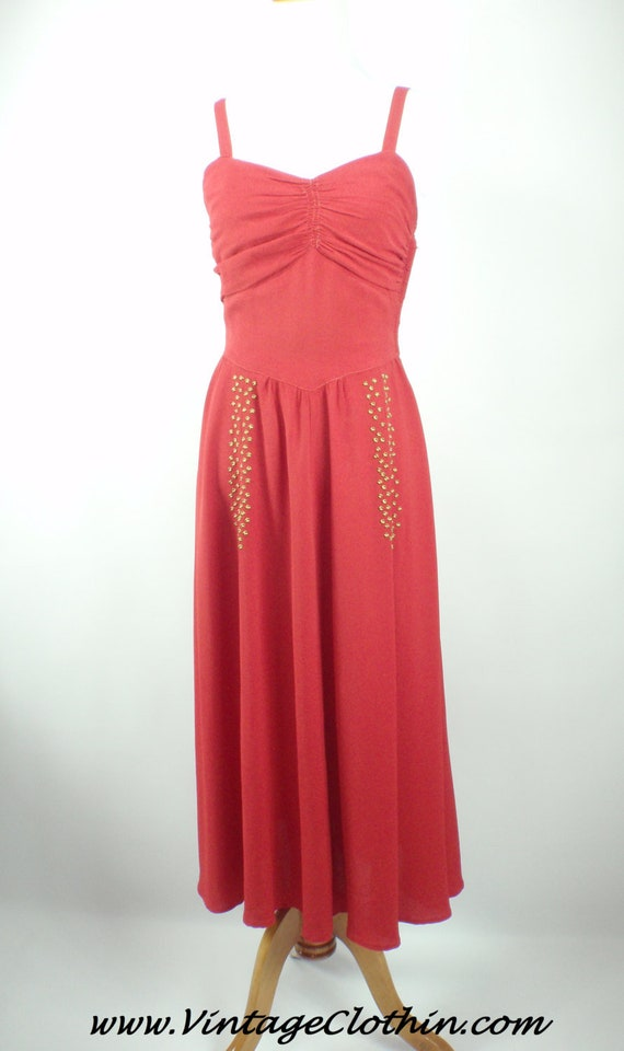 Rare 1940s Red Crepe Dress with Brass Studs and Ma