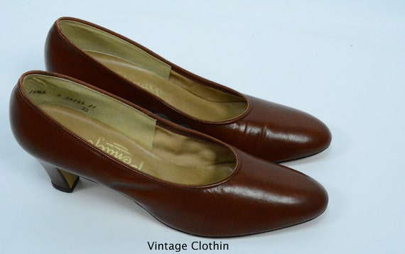 1980's does 1950s Penaljo Tan Brown Pumps, New Ol… - image 3