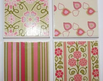 Ceramic tile coasters x4