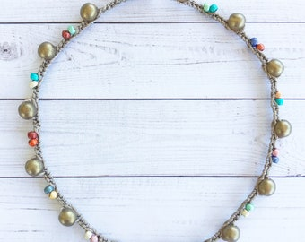 Multicolored and gold glass bead crochet anklet