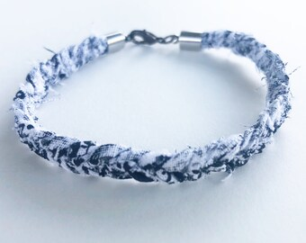Black and white scrappy cotton fabric braided bracelet