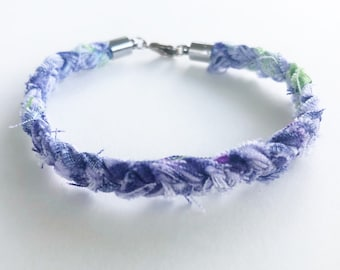 Purple and green scrappy cotton fabric braided bracelet