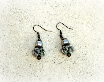 Marbled gray turquoise vintage earrings