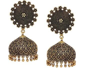 Oxidized Gold Earrings/indian earring/jhumka/jhumki/silver earrings/ethnic earrings/indian jewelry,/jhumka earrings
