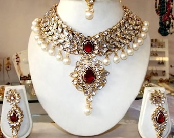 Traditional Necklace Set /Indian necklace | Wedding Jewelry/Indian Jewelry |Indian Bridal Jewelry | Kundan Jewelry | Indian Wedding Jewelry