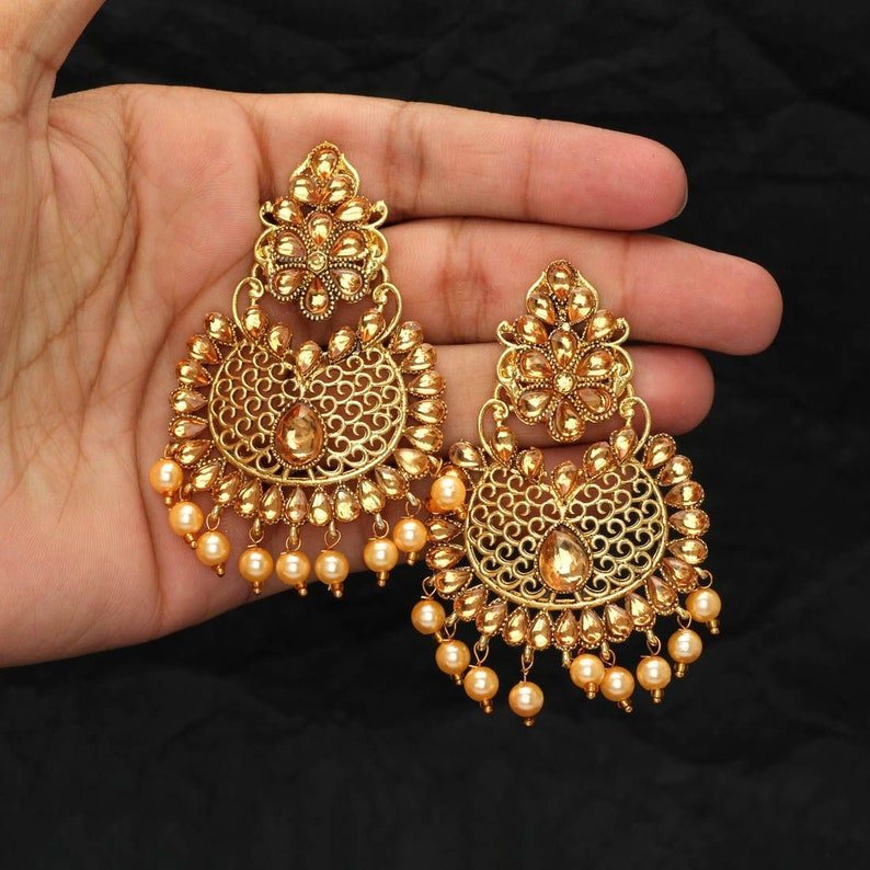 Chandbali Earrings Jhumka Earrings Indian Jewelry Kundan Etsy