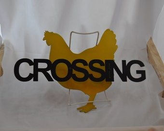 CH08 Metal Chicken crossing sign for chicken coop signs