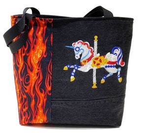 Tote Bag - Steampunk Unicorn Carousel.  A repurposed denim, embroidered, lined totebag.  Eco-Friendly handbags.