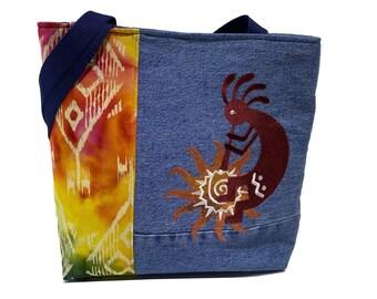 Tote Bag - Southwestern Kokopelli - A repurposed denim, embroidered, lined totebag.  Eco-Friendly handbags.