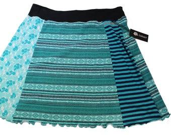 T-Skirt -'Aqua Stripes and Flowers  , Size XL
