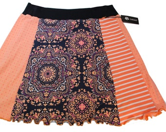 T-Skirt -'Navy & Orange Medallions'  , Size XL.  A repurposed knit skirt that's easy to wear and easy to care!