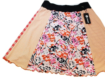 T-Skirt - Orange, Black Abstract Floral- Size Large.   Fun and easy to wear repurposed knit skirt.