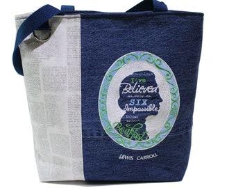 Tote Bag- 'Lewis Carroll-Alice In Wonderland' - A repurposed denim, embroidered, lined totebag .  Eco-Friendly handbags.