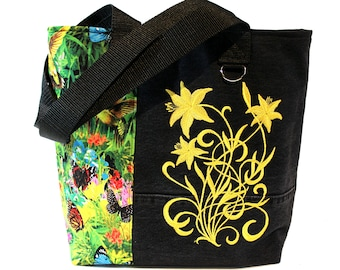 Tote Bag-Butterfly Garden- A repurposed denim, embroidered, lined totebag.  Eco-Friendly handbags.