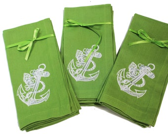 Table Linens - Set of Two.    White Embroidered Nautical Anchors on Apple Green Cloth Napkin