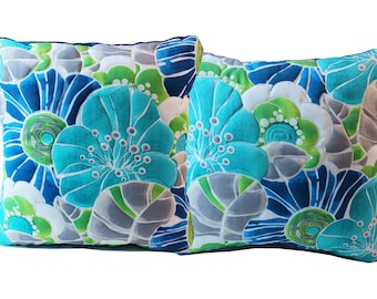 Home and indoor patio pillow set - Brilliant aqua, navy, and green floral design, quilted.