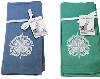Table Linens - Set of Two.    White Embroidered Nautical Compass Rose - options are teal green or charcoal blue.