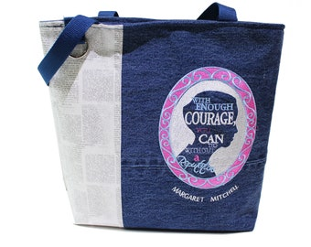 Tote Bag- 'Margaret Mitchell quote (from 'Gone with the Wind')- A repurposed denim, embroidered, lined totebag .  Eco-Friendly handbags.