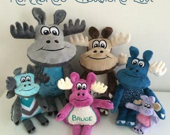 De familie van de Moose - Machine borduurwerk ITH - 4 x 4, 5 x 7, 6 x 10, 7 x 12 en 8 x 14 hoepel - Vp3. Vip, Pes, Hus, Exp, DST, XXX & Jef formaten.