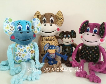 Monty the Monkey Family -  Machine Embroidery ITH - 4x4, 5x7, 6x10, 7x12 and 8x14 hoop - Vp3. Vip, Pes, Hus, Exp,  DST,  XXX & Jef formats.
