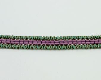 Tulips and Heather - bead woven bracelet