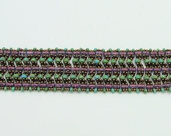 Amethyst Garden - bead woven bracelet