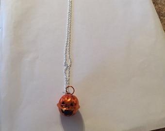 Cute Jingle Bell Jack O Lantern Necklace!