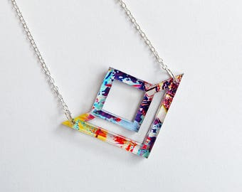 Acrylic necklace - Statement necklace - Geometric Necklace - jewellery - Acrylic Jewellery - Patterned Necklace - festival accessories