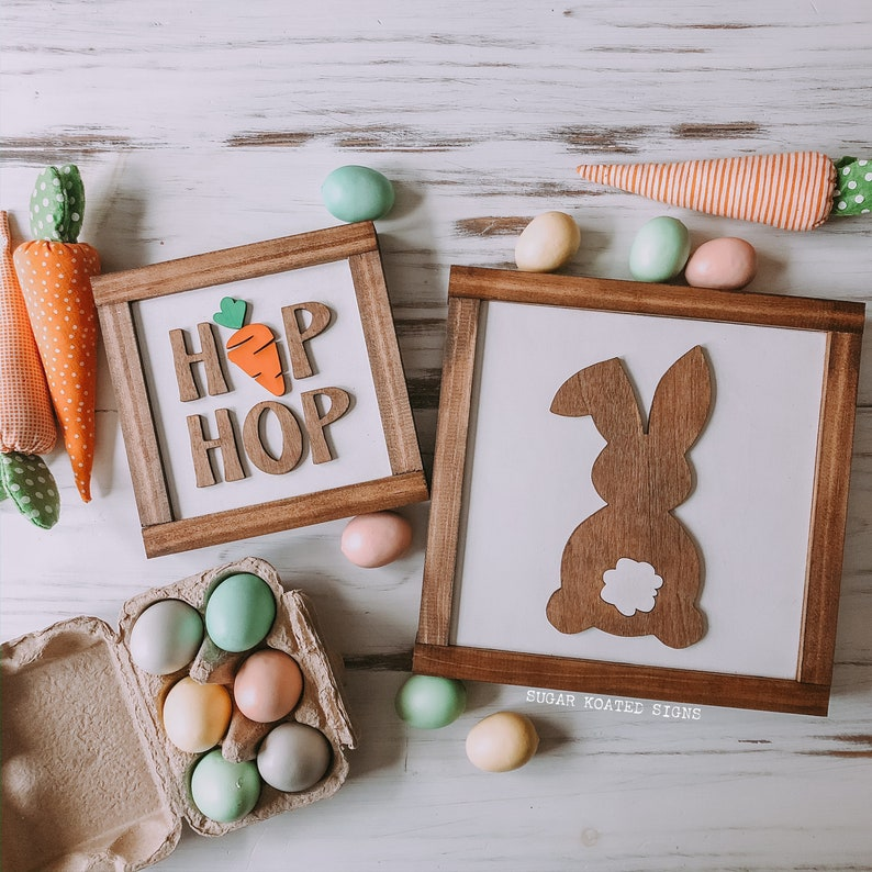 Easter Bunny Wood Sign Easter Sign Hip Hop Bunny 3D Cutout image 0