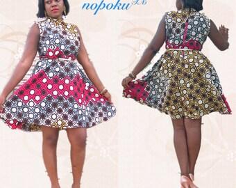 c44738c9d51968 African Dress,Multicolor Dresses,Ankara dresses,Cocktail Dress,Kitenge Dress,Evening  Dress,Party Dress,Womens clothing,Mandarin collar dress