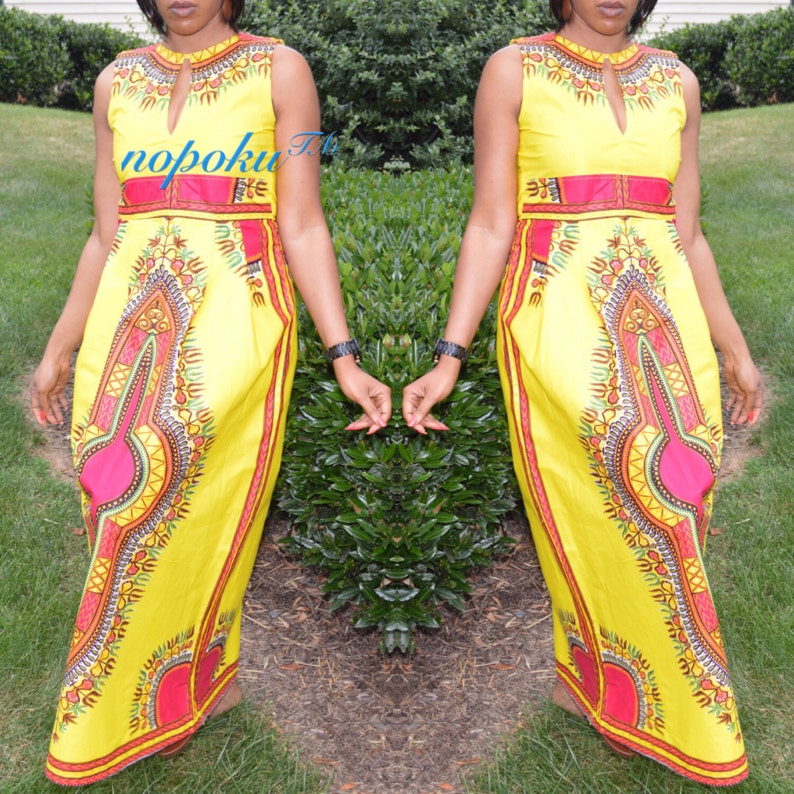 Long dress,Kitenge Dress Yellow Angelina Dress,sleeveless dress,Party Dress,Geometric Print dresses African Print Dress,Dashiki Maxi Dress