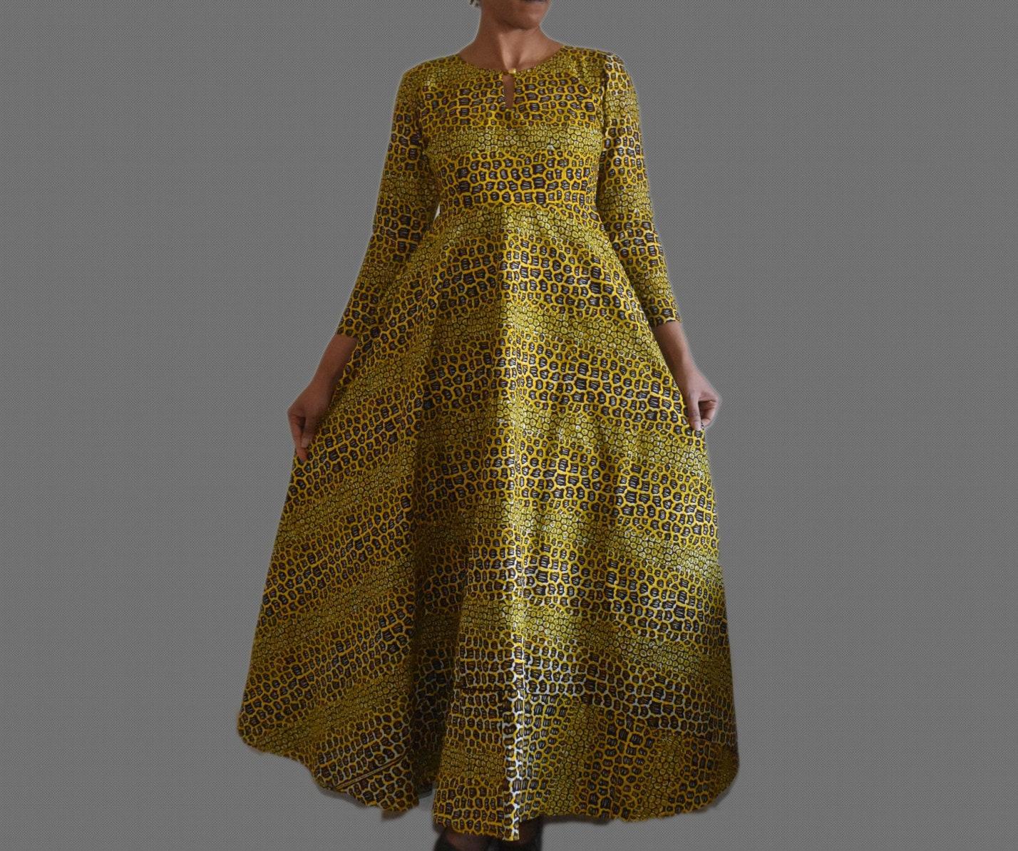 African Print Long Dress Ankara Maxi Dress Evening Dress | Etsy