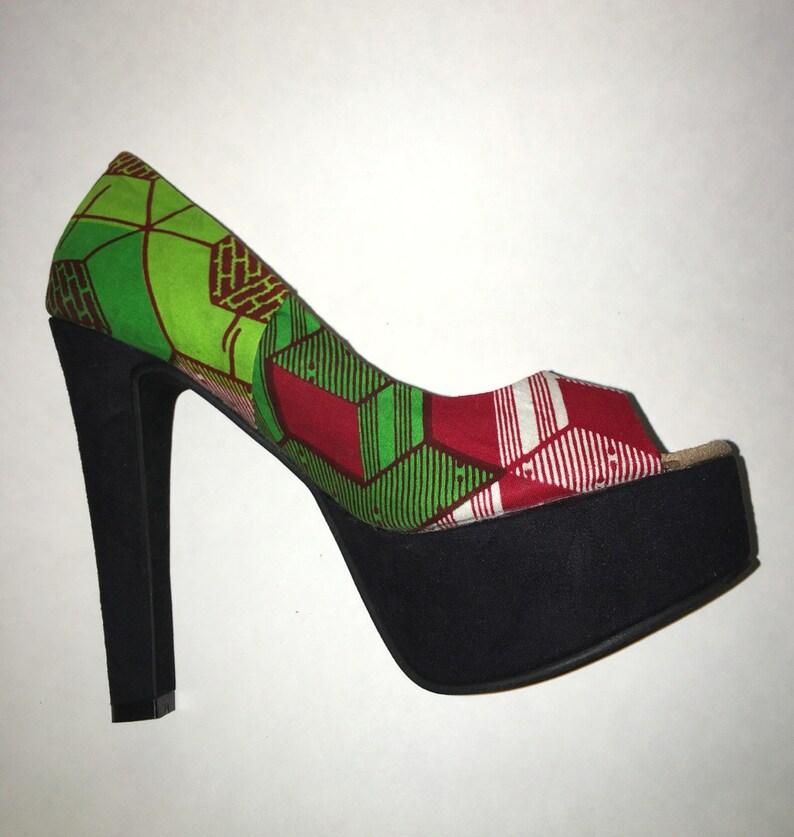 107a08a7488e8 Platform heels,Ankara Heels, African Print Shoes, Women's Heels, Statement  Piece, Red and Green Platform Heels, Gift Idea,African shop,Heels