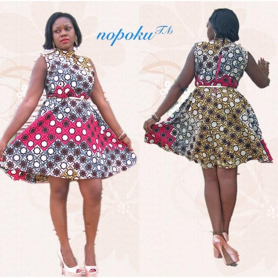 492e5214ad Ubierz afrykańskiego Multicolor sukienki Ankara sukienki