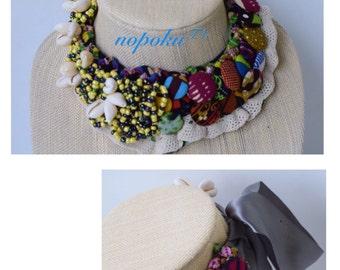 African jewelry, Ankara button necklace,bib necklaces,African print necklace,Statement Necklace,cowrie shells,Bohemian jewelry,fabric button