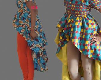 Off-Shoulder Fish tail African Print Top,Hi lo Ankara Top,  Ankara Blouse, African Print Top, Prom Dress, Party Dress, Gala dress, Kitenge
