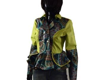 African Print Blazer, Blazers, Ankara Blazer, Long sleeves shirt, Kitenge Blazer, Print Blazer,Women's blazers, Green blazer, Party top