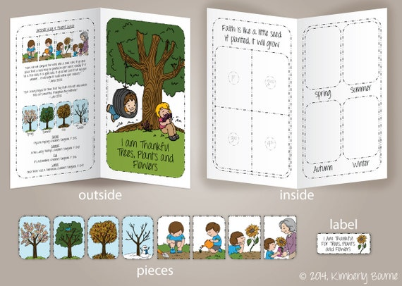 I Am Thankful For Trees Plants And Flowers File Folder Game Etsy