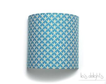 """Applique murale """"écailles bleues"""" 25cm, japonisant, géométrique art déco, abat jour, abatjour"""