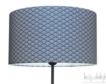 Geometric Drum lampshade traditional japanese pattern in royal blue