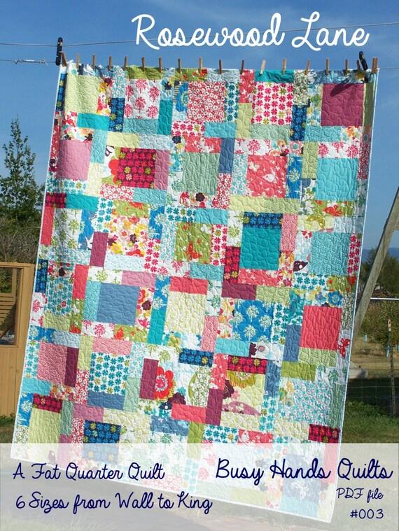 Rosewood Lane Quilt Pattern Pdf Fat Quarter Pattern Easy Etsy