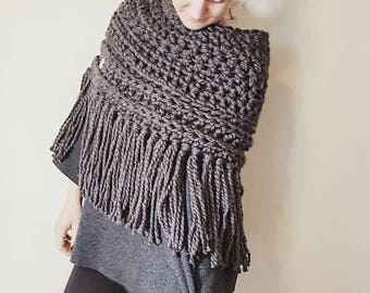 The Big Tassel - cowl with fringes, fringed scarf, tassel scarf, cowl with long tassels, crochet scarf, knit poncho, chunky knit poncho