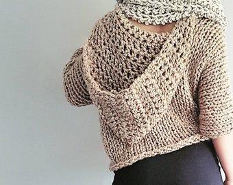Three-Quarter Hoody - Knit sweater, chunky knit top, knit hoody, knitted cardi, chunky knit top, baggy sweater, oversize sweater