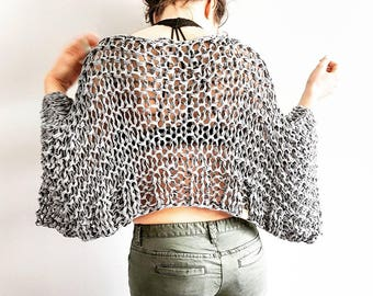 Go-With-The-Flow Jersey Top - Knitted top, crop top, knit crop top, airy knitted shrug, bulky knit, sweater, knitted shrug, knitted sweater