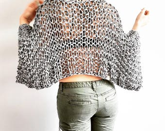 Knitting Pattern for Go-With-The-Flow Jersey - Easy knit sweater pattern, summer knit pattern, loose knit pattern, crop top knit pattern