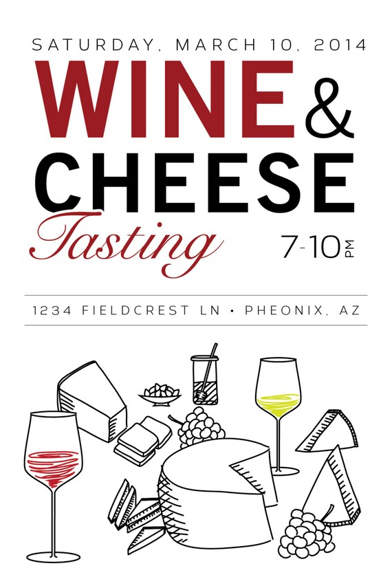 Printable Editable 4x6 Wine & Cheese Party Invitation and
