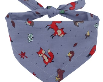 Forest Print  Deer Squirrel Acorn  Dog Bandana Over the Collar Pet Scarf Cat Bandana Custom Dog Neckerchief