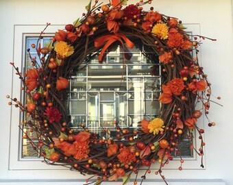 Fall Wreath, Autumn Wreath, Holiday Wreath, Door Decor, Home Decor