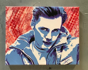 Bill Skarsgard Painting on Stretched Canvas - pre made and ready to ship - pictures show actual item you are purchasing.