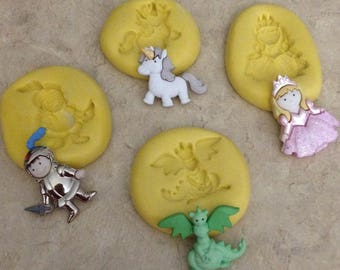 Fairy Tale Princess Set Dragon Knight Horse Molds Silicone